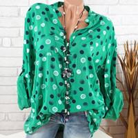 siyah polka noktalı gömlek toptan satış-Bahar Seksi Siyah Yeşil Gömlek Uzun Kollu Polka Dot Casual Gevşek Bluz Gömlek Artı Boyutu S-5XL