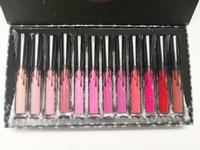 12pcs dudak toptan satış-Stok Gümrükleme Beni Tatile Al bana daha çıplak gönder 12 renk Mat Sıvı Rujlar Kiti Kelly Kozmetik 12 adet Lipgloss Dudak Parlatıcısı Set