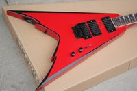 Wholesale red v electric guitar resale online - Factory Red V Type Electric Guitar with White Pearl Fret Inlay Double Rock Black Hardwares Pickups Can be Customized