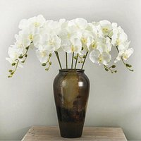 Wholesale orchids artificial flower - 10Pcs lot Lifelike Artificial Butterfly Orchid flower Silk Phalaenopsis Wedding Home DIY Decoration Fake Flowers free shipping