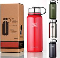 ingrosso tazze personalizzate-Bottiglie di acqua di vuoto per 304 in acciaio inox isolato e fresco tazza tazza all'aperto escursionismo sport bicchieri bollitore tazze logo personalizzato HH7-1387