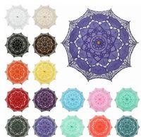 Wholesale long lace arm - Multi-color Noble Elegant Long Arm Wedding Bridal Umbrella Embroidery Gingham Lace Parasol lace Umbrella