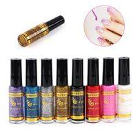 ingrosso decorazione per penne-Holographic 3D Shinny Nail Glitter Polish Liner Brush Nails Decorazione Vernice Manicure Pull Line Pen Vernice per unghie Lacca