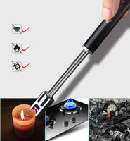 BBQ Outdoor USB Candle Lighter Rechargeable Plasma Arc Cigarette Windproof Flameless Long Kitchen Lighters 7 Colors Women Gadgets