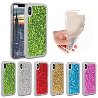 iphone blinzeln großhandel-TPU Soft Phone Case Bling Glitter Rückseite für iPhone X iPhone 8 Plus iPhone 7 Plus Shining Blink Schutzhülle