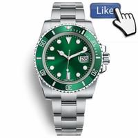 зеленая рамка автоматическая оптовых-Лучшие роскошные керамические безель мужские часы механические из нержавеющей стали механизм с автоподзаводом зеленый спортивные часы self-wind часы 116610lv наручные часы