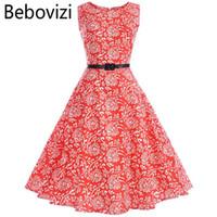 ingrosso oscillazioni rosse-Bebovizi Women Summer Red Dress 2018 Audrey Hepburn Floral Print Robe Retro Swing Casual anni '60 Vintage Rockabilly Abiti Vestidos