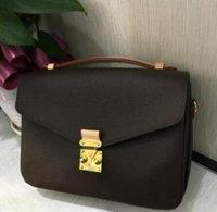 eski kahverengi deri çanta toptan satış-Ücretsiz kargo yüksek kalite hakiki deri kadın Kahverengi mesaj Pochette Metis çanta pochette Metis omuz çantaları crossbody Retro çanta