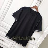 Wholesale Jersey Letters - 18ss Luxury Europe Paris High quality Band Satin Jersey Tshirt Fashion Men Women Star Print T Shirt Casual Cotton Tee Top
