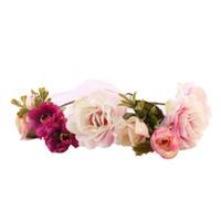 головные ленты оптовых-2017 Women Head Wreath For Girls Hair Headband Flower Crown Wedding Garland Forehead Hair accessories Headdress band new JY10A