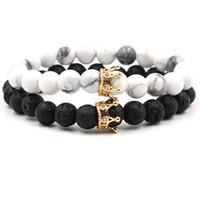 680699d6b15e NUEVO negro blanco cuentas de piedra con oro plata color corona charm  bracelet para mujeres hombres brazaletes joyería pulsera DropShipping
