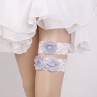 Wholesale sexy leg garters resale online - 2 Piece set Chiffon Flowers Bridal Leg Garters Prom Garter Bridal Wedding Garter Belt Faux Pearls Free Size Lace Bridal Accessories