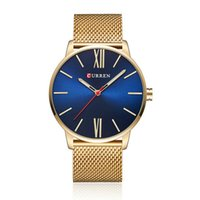 Wholesale curren black stainless steel sport watches for sale - Curren Simple Men Quartz Watch Mesh Silver Black Gold Stainless Steel Band Fashion Sport Male Wristwatches
