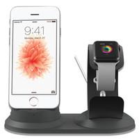 зарядное устройство для док-станции оптовых-Для iPhone X алюминиевый стол держатель телефона база для iPhone 8/7 / 6S зарядки док-станция для Apple Watch зарядное устройство стенд поддержка таблицы