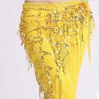 correntes indianas venda por atacado-Dança do ventre Cintura Cintura Dança Indiana Cachecol Hip Lantejoulas Bandagem Cinto de Dança do Ventre Dança do Ventre Hip Scarf 9 cores
