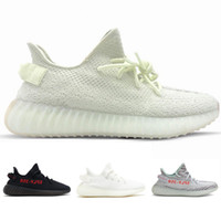 Wholesale flat laces - 2018 SPLY 350 V2 Butter Semi Frozen Yellow Blue Tint Beluga 2.0 Zebra Cream White V2 350 Running Shoes Mens Womens Wholesale