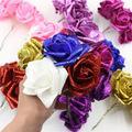 weiße künstliche bräute sträuße großhandel-Hochzeitsfeier Braut Kunsthandwerk Bouquet Blau Schaum Rose Marry Diy Crimpen Weiß Dekoration Champagner Blume Mit Stiel