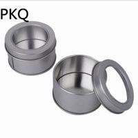 ingrosso mini contenitori per custodia-Diametro 6.5cmx2.5cm 3.23 Mini scatola di immagazzinaggio di latta, piccola torta rotonda / moneta / contenitore in metallo per bomboniera