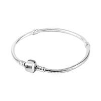 boncuk pandora uyuyor toptan satış-Toptan 925 Ayar Gümüş Bilezikler 3mm Yılan Zincir Fit Pandora Charm Boncuk Bileklik Bileklik DIY Takı Hediye Erkekler Kadınlar Için