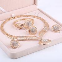 conjunto de joyería de perlas africanas boda nigeriana al por mayor-Dubai Conjuntos de joyas de oro Boda nigeriana Cuentas africanas Cristal Conjunto de joyería nupcial Rhinestone Joyería etíope parure