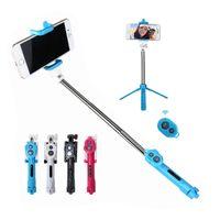 iphone controlado a distancia al por mayor-Control remoto Bluetooth Selfie Stick 3 en 1 temporizador extensible de mano Monopod con soporte plegable del soporte del trípode para el iphone 8 X Smartphone