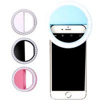 anillo de flash universal al por mayor-Selfie universal LED Anillo de luz de flash del teléfono móvil portátil lámpara Selfie Clip de anillo luminoso para iPhone X XS Mas 8 Plus Samausng Huawei