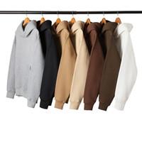 camisolas de grandes dimensões venda por atacado-Homens / Mulheres kanye west moletom com capuz hoodies com capuz Casaco Com Capuz sólida Sportswear pullover oversized preto em branco de lã de algodão
