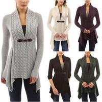 Wholesale Warm Women Sweaters - Fashion Women Buckle Braid Front Cardigan Knitwear Warm Sweaters Autumn Long Sleeve Casual Slim Outwear