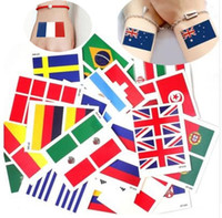 Wholesale Games Flag - 2018 World Cup National Flag Tattoo Sticker Temporary Brazil Russia Flag Football Game Body Face Hand Tattoo for kids&adults