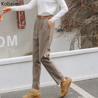 Wholesale Trousers Suits For Women - Kobeinc Women Wool Blended Harem Pants Thicken Winter Warm Trousers For Women Loose Woolen British Style Female Suit Long Pants