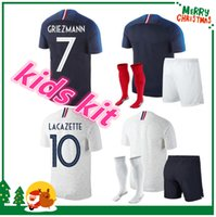 Wholesale France Soccer Kit - france kids kit pogba soccer Jersey 2018 World Cup 18 19 PAYET DEMBELE MBAPPE GRIEZMANN KANTE national team football shirts COMAN AWAY whit