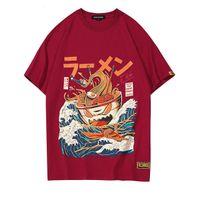 Wholesale funny tshirts men - Japanese Funny Cartoon Ramen Printed Short Sleeve T Shirts Streetwear Fashion Casual Men's Hip Hop Tshirts Tops Tees