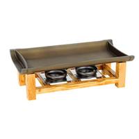 ingrosso vassoi di bambù-Piatti per grill non appiccicosi Pan Cucina giapponese coreana Flaps di bambù Utensili per barbecue Fessura in alluminio Pannello in ceramica Vassoio per barbecue 40wy ggkk
