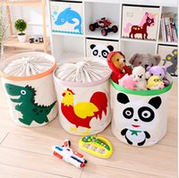 Wholesale fabric bins for storage - Drawstring Storage Basket Laundry Hamper Bin for Kids Toy Storage Baskets cartoon Dirty Clothing Organizer KKA4126