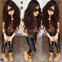 Wholesale Kids Leather Pants - Children Leopard outfits kids girls cotton Leopard T-shirt+Leather pants 2pcs set baby INS suit C1711