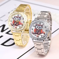 сова смотреть женщина оптовых-Часы женщины женщины часы симпатичные Сова мода сплава группа аналоговые кварцевые круглые наручные часы Часы D19 подарок часы