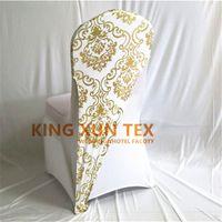 lycra spandex decoração venda por atacado-100 pcs de Ouro ou Cor de Prata Bronzeamento Revestido Lycra Spandex Cadeira Hood Cap Para A Decoração Da Tampa Da Cadeira de Casamento