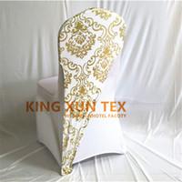 ingrosso decorazione di spandex in lycra-100pcs oro o argento colore bronzato rivestito Lycra Spandex Chair Hood \ Cap per la decorazione della copertura della sedia di nozze