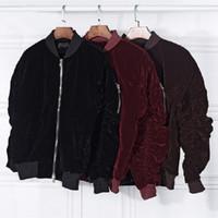 Wholesale Velvet Vintage Jacket - New arrival men bomber jacket velvet rubber string long sleeve fear of god coat high street mens winter jackets casaco masculino