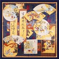 bufandas de marca de china al por mayor-Chino Cuadrado de Seda Étnica Mujeres Imprimir Bufanda Diseñador de Lujo Marca Chal Foulard Femme Bandana