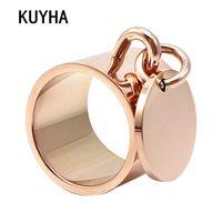 namensring-tags großhandel-Luxus Ringe Femme Gravierbare Runde Tag Charme Modeschmuck 5 Farben 15 MM Breite Edelstahl Anpassbare Logo / Name Ring