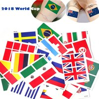 Wholesale tattoo glued - 2018 World Cup National Flag Tattoo Sticker Temporary Body Face Hand Tattoo Adhesive Stickers 6*8cm Brazil Russia France