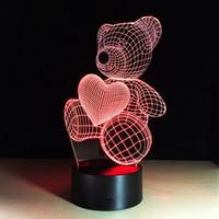 teddy liebesgeschenk großhandel-3d Liebe Teddybär 3d Lampe Optische Täuschung Kinder Nachtlicht AnimalsTouch Tisch Schreibtisch Lampen mit Fernbedienung für Jungen Mädchen Schlafzimmer Geburtstagsgeschenk