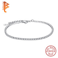 Wholesale flowered silver bracelet bangle online - Belawang Aaa Elegant Square Cz Tennis Charm Bracelets Bangles For Women Sterling Silver Princess Cut Cz Wedding Jewelry