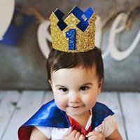 bebek prenses taç kafa bandı toptan satış-Boy İlk Doğum Günü Şapka Mavi Altın Glitter Kız Altın Pembe Prenses Taç 1st 2 3 Yaşında Parti Bebek Duş Dekor Kafa Prens