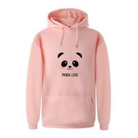 Wholesale Panda Coats - 2018 New Women Autumn Long Sleeve Fleece Warm Hoodies Sweatshirt Print Kawaii Cartoon Panda Casual Harajuku Hooded Coat Pullover