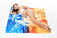 Wholesale moon painted wall - Square Abstract Sun Moon Painting Beach Bath Mat Multifunction Lovers Towel Picnic Blanket Sand Shawl Wall Decor Tapestry 150*150cm AAA34