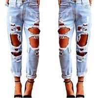kadınlar için yırtık pantolon toptan satış-Spandex Sonbahar Yırtık Kot Kadın Rahat Yıkanmış Delikler Erkek Arkadaşı Kot Kadınlar için Düzenli Uzun Yırtık Kot Vahşi Denim Pantolon