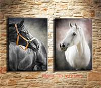 pintura al óleo lienzo caballo blanco al por mayor-Caballo blanco y negro, pintura de la lona 2P Sala de estar Decoración para el hogar Arte mural moderno Pintura al óleo
