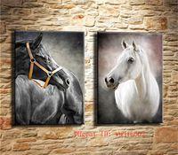 yağlı boya kanvas beyaz at toptan satış-Siyah ve Beyaz At, 2 P Tuval Boyama Oturma Odası Ev Dekor Modern Duvar Sanatı Yağlıboya